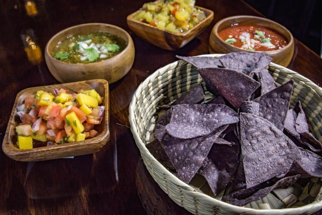 Agave Cocina & Tequila Nachos, salsa, and dip